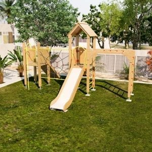Tower Slide Climbing Frame with web, climbing ramp, pole and monkey bars