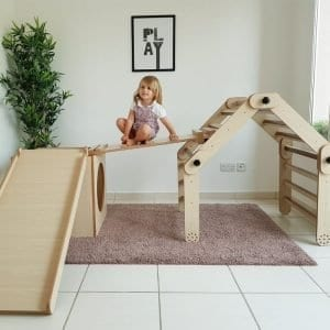 Adjustable Pikler Triangle With One Ramp, Tunnel Box & Slide Set 3