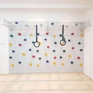 Climbing Wall with Monkey Bars & Gymnastics Rings