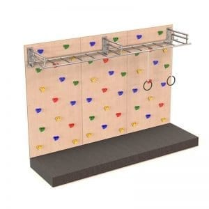 Climbing Wall with Monkey Bars & Gymnastics Rings and Safety Mat