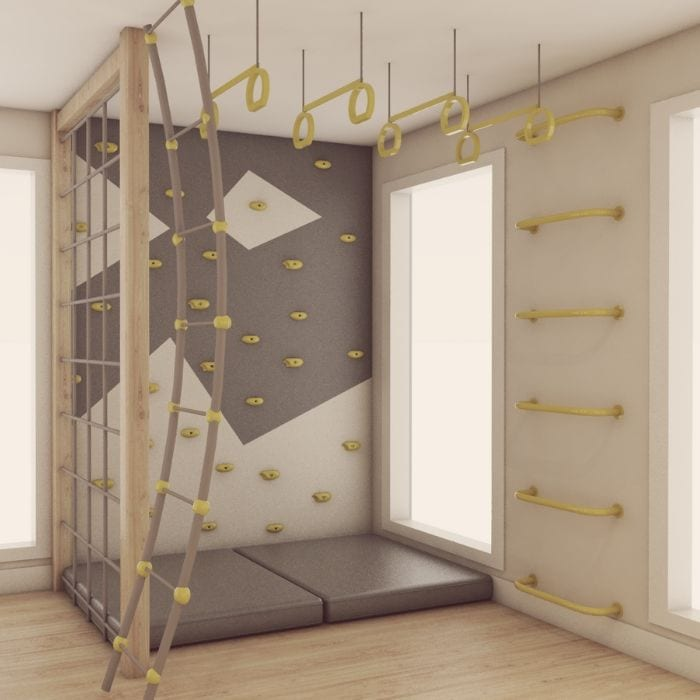 Climbing Wall with Rope Climber, Ladder & Trapeze