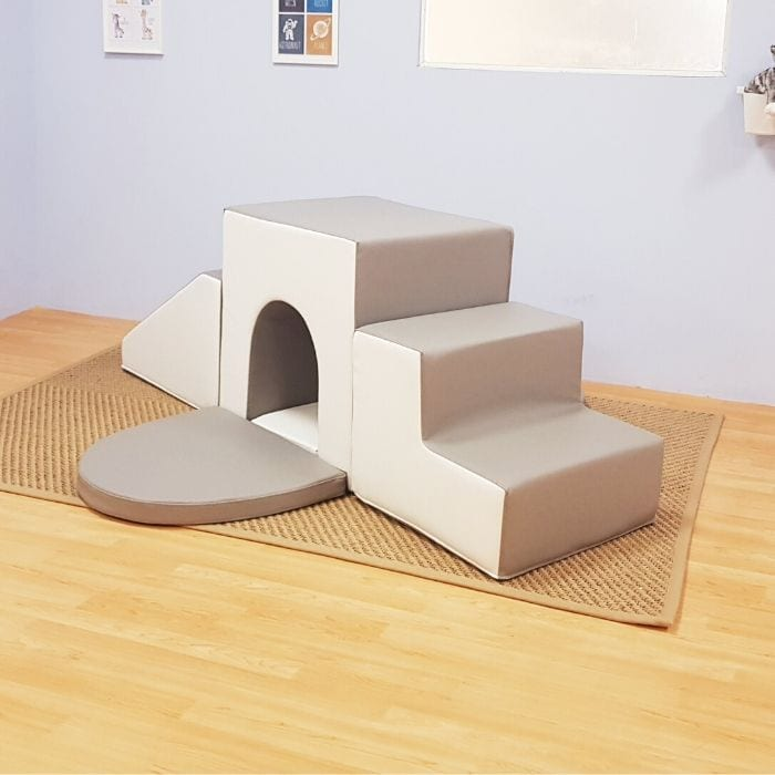 Soft Play Baby Arch Tunnel in Grey & White