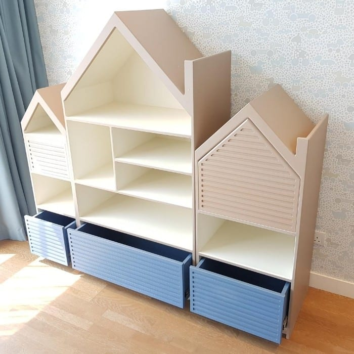 House Shaped Shelving Unit with Drawers
