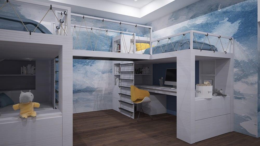 Amazing Kids Bedroom Design with Bridge between Bunk Beds