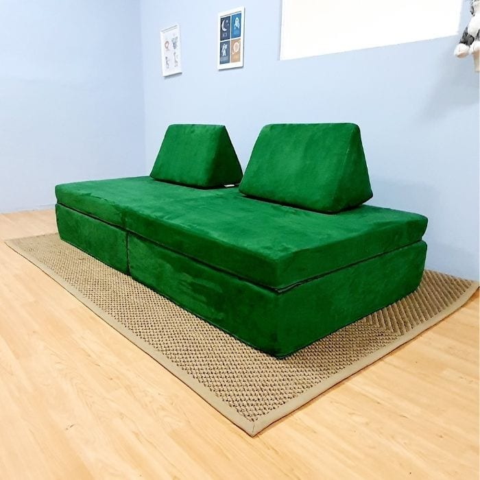 Play Sofa in Green Suede