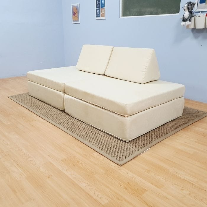 Play Sofa in White Suede