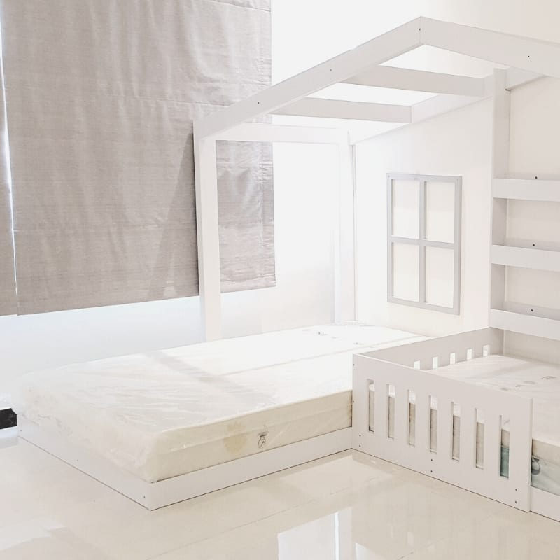 Twin House Bed with Shelves