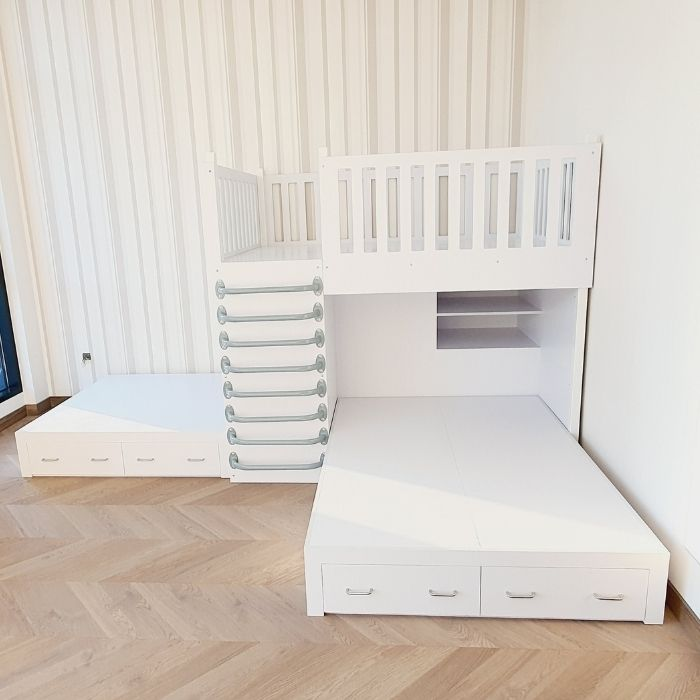 Bunk Bed with Shelves and Drawers