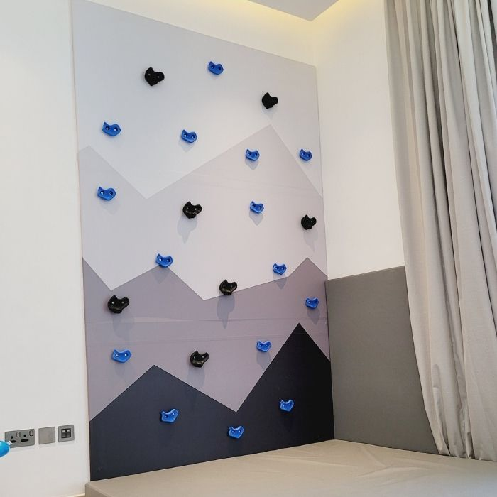 Monochrome Climbing Wall with Safety Mat