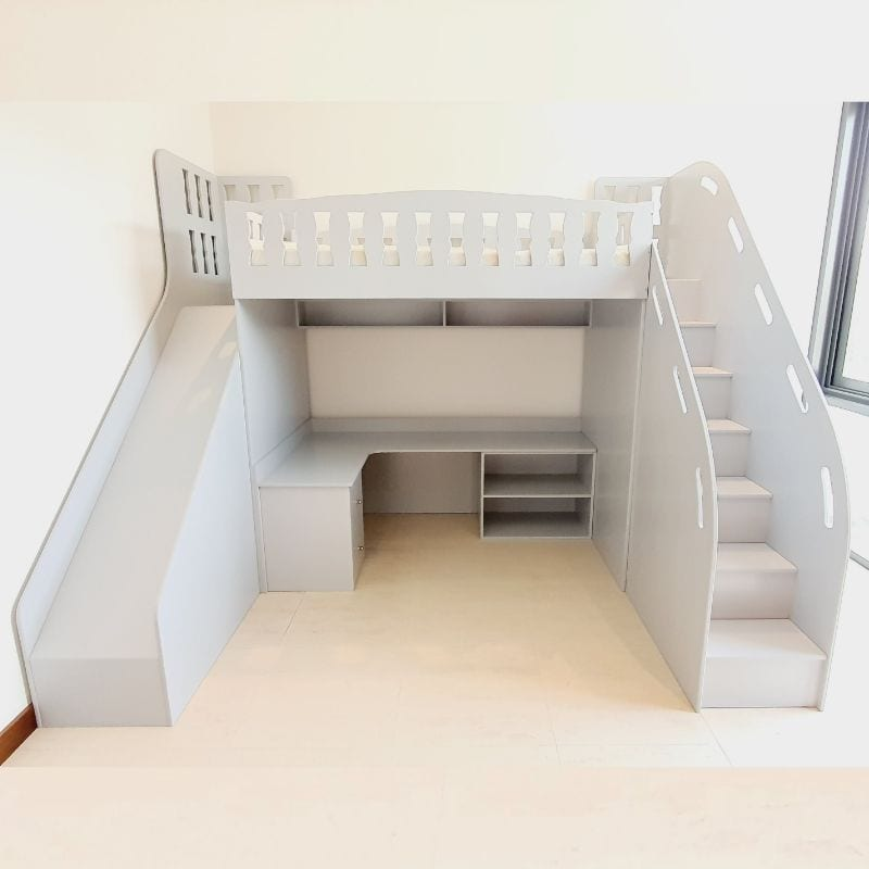 Cabin Bed with Slide, Steps and Desk