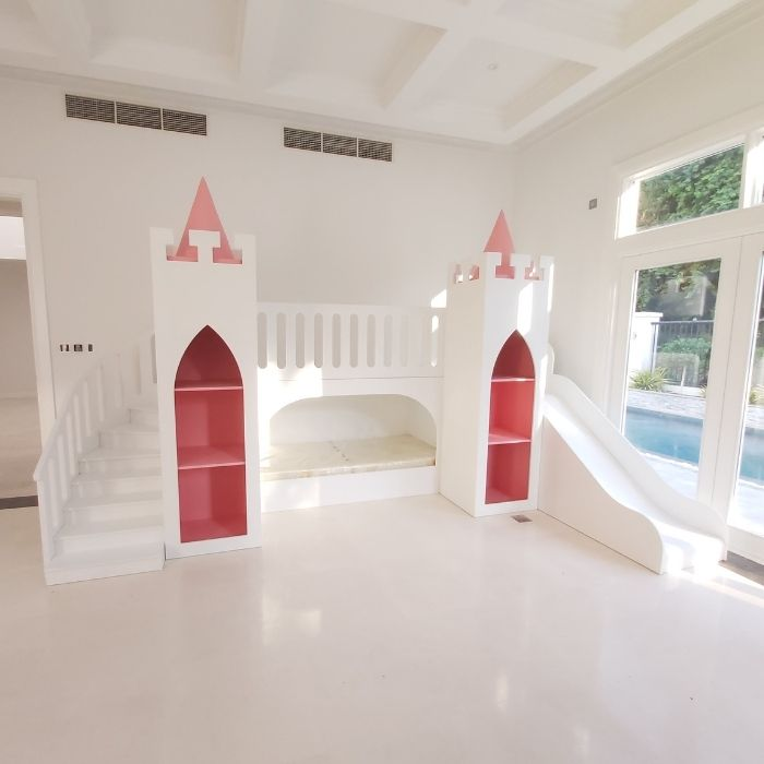 Pink & White Princess Castle Bed
