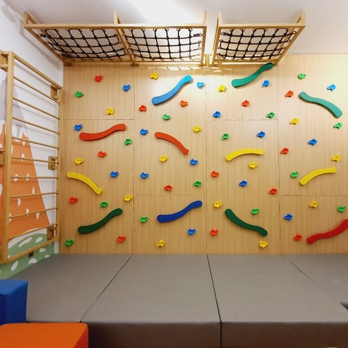 Climbing Wall with Shaped Grips