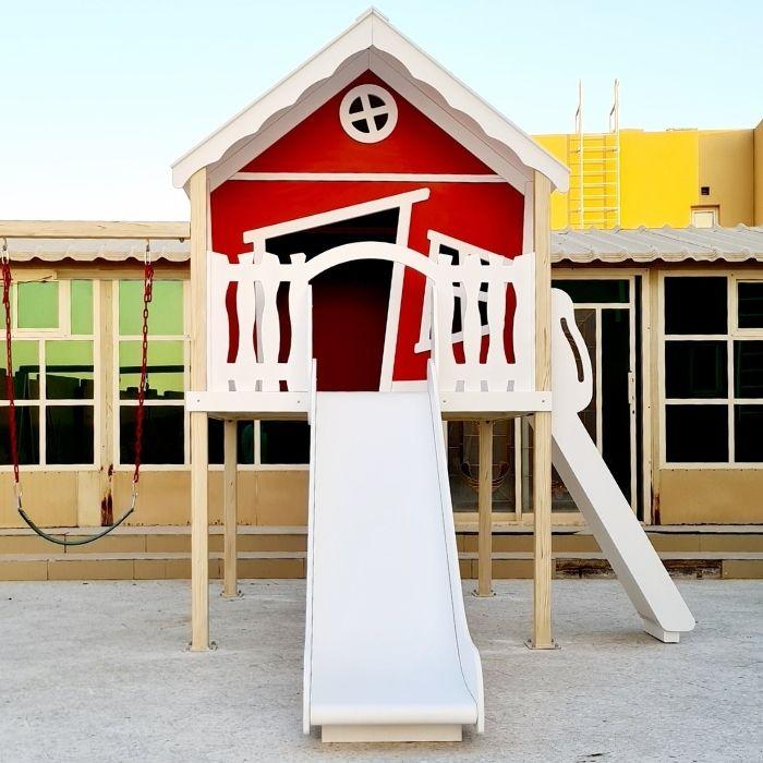 Explorer Play House with Slide, Triple Swing Set & Climbing Ramp