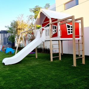 Explorer Playhouse with Slide, Two Swings & Monkey Bars