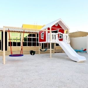 Explorer Play House with Slide, Triple Swing Set & Climbing Ramp