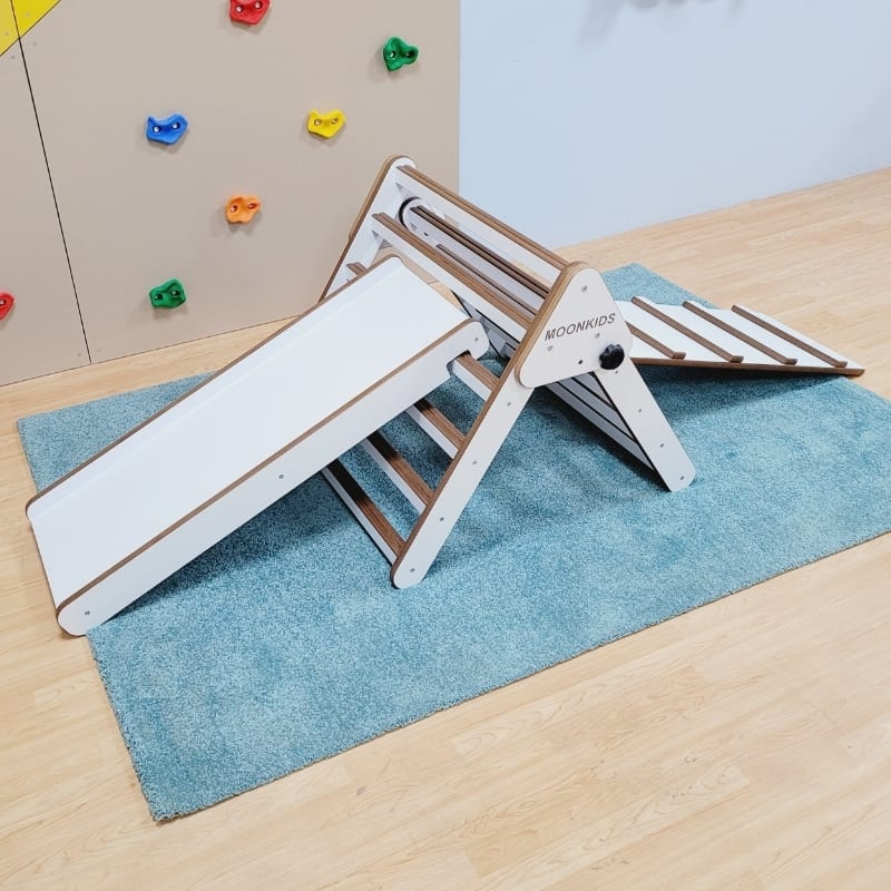 Pikler Triangle with Slat Ramp and Slide