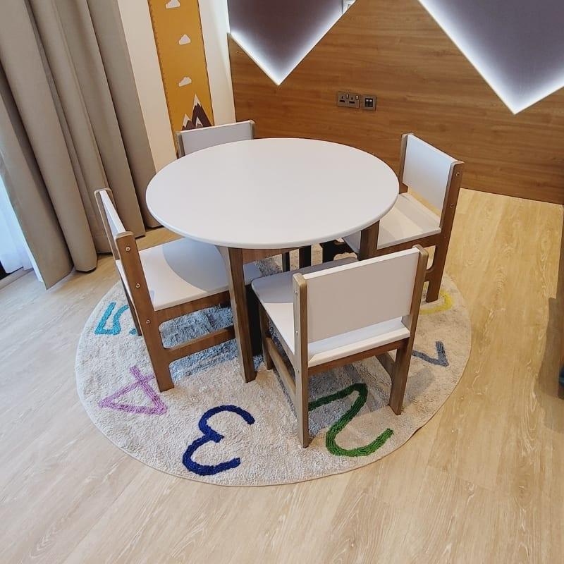 Round Table & 4 Chair Set - White