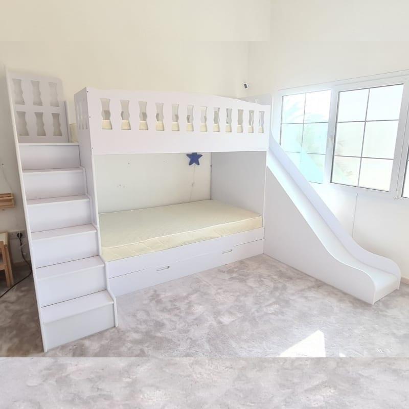 Bunk Bed with Steps, Slide & Trundle