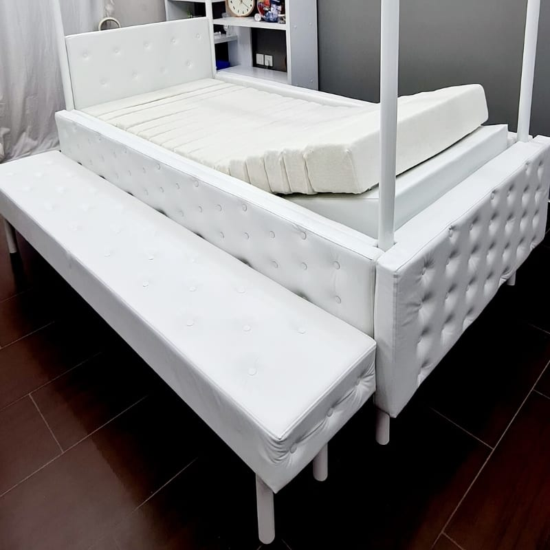 Padded Bed with Bench