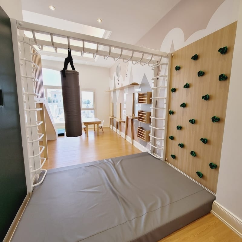 Monkey Bars with Side Climbing Wall, Punch Bag & Mat