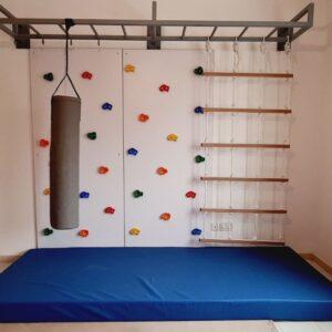 2 Panel Climbing Wall with Monkey Bars & Cargo Net 3