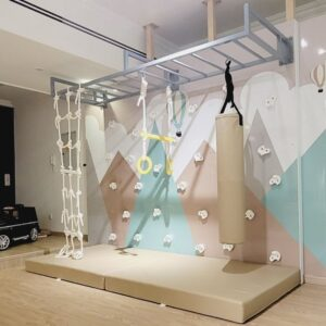 Climbing Wall with Mountain Graphic & Monkey Bars - 2 Panel