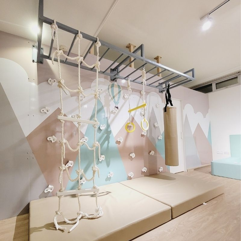 Climbing Wall with Mountain Graphic & Monkey Bars - 2 Panel 1
