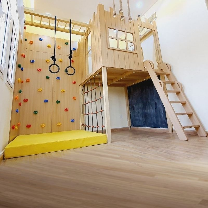 Castle-Tower-Treehouse-with-Climbing-Wall-