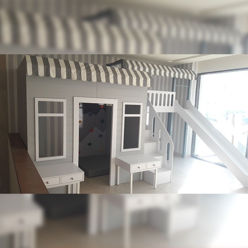 Role Play House with Climbing Wall and Platform