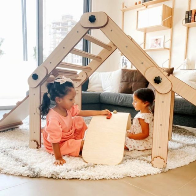 Multipurpose Pikler Triangles  As well as using them as a climbing frame, the older children are more imaginative and use them as dens. #moonkidsinaction