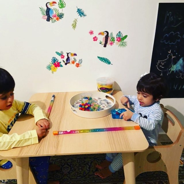 Enjoying their new table and chairs #moonkidsinaction