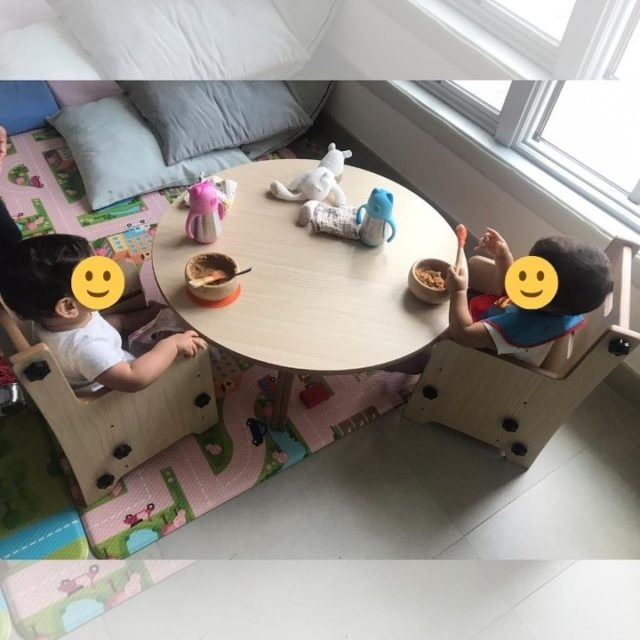 These two are enjoying their breakfast at their custom made Medium Round Table on their Adjustable Montessori Chairs.  We love to see our #moonkidsinaction  Order yours today!  #moonkidsabudhabi #dubaikids #abudhabikids #dubaimums #abudhabimums #britishdadsdubai #tablesandchairs